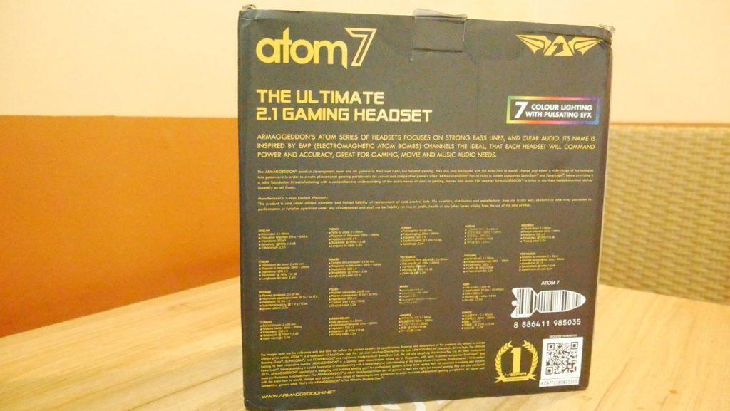 Kemasan Belakang Headset Gaming Armaggeddon Atom 7